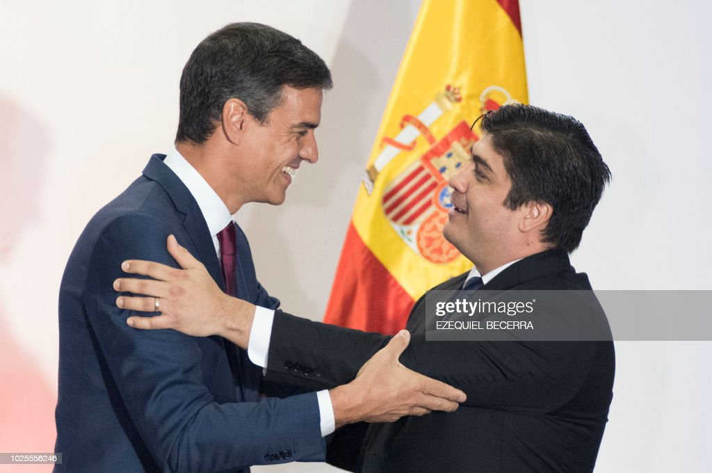 Spanish prime minister pedro sanchez and costa rican president spanish prime minister pedro sanchez and costa rican president carlos alvarado greet each other during m4hsunfo