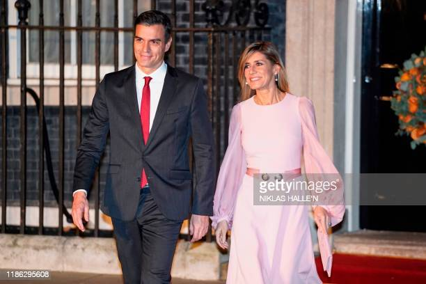 Spanish Prime Minister Pedro Sanchez and his wife Maria Begona Gomez Fernandez leave 10 Downing Street in central London on December 3 after...