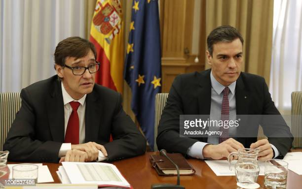 Spanish Prime Minister Pedro Sanchez and Spanish Health Minister Salvador Illa attend coronavirus observation committee meeting at Health Ministry in...