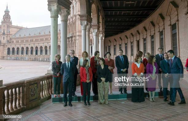 Spanish Prime Minister Pedro Sanchez arrives to pose for a family photo with Spanish interior minister Fernando GrandeMarlaska Spanish minister of...