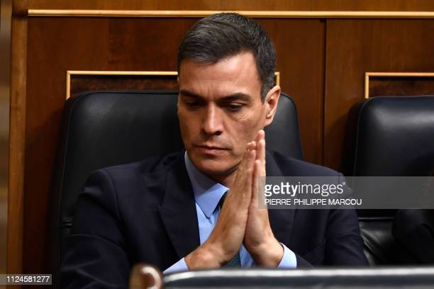 Spanish Prime Minister Pedro Sanchez attends a debate on the government's 2019 budget during a parliament session in Madrid on February 13 2019