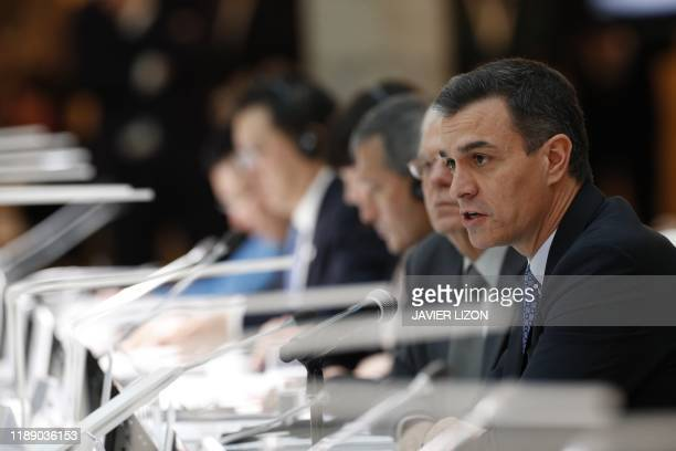 Spanish Prime Minister Pedro Sanchez attends the 14th ASEM Foreign Ministers Meeting at the Royal Palace of El Pardo near Madrid on December 16 2019