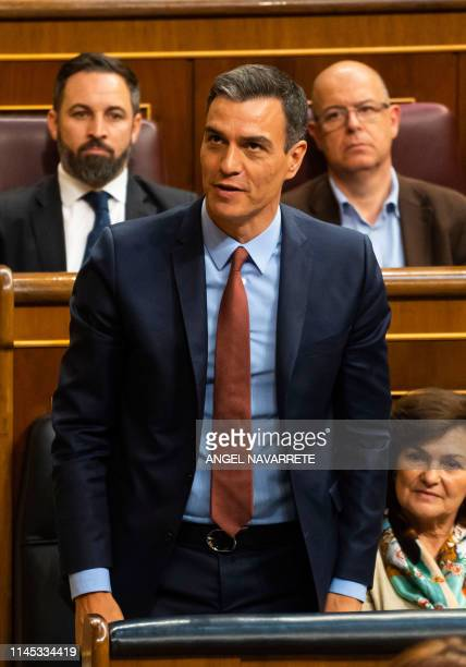 Spanish Prime Minister Pedro Sanchez attends the first plenary session of the lower house of parliament since last month's general election on May 21...