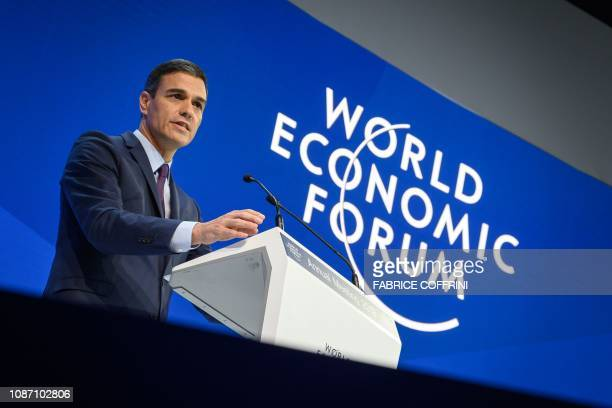 Spanish prime minister Pedro Sanchez delivers a speech during the World Economic Forum annual meeting on January 23 2019 in Davos eastern Switzerland