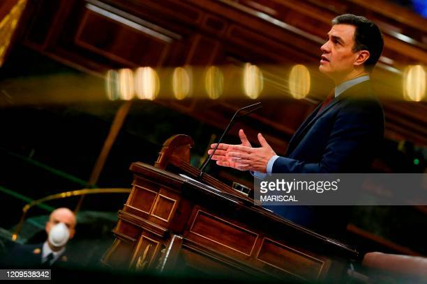 Spanish Prime Minister, Pedro Sanchez delivers a speech during the plenary session at Lower Chamber of Spanish Parliament, in Madrid on 09 April 2020...