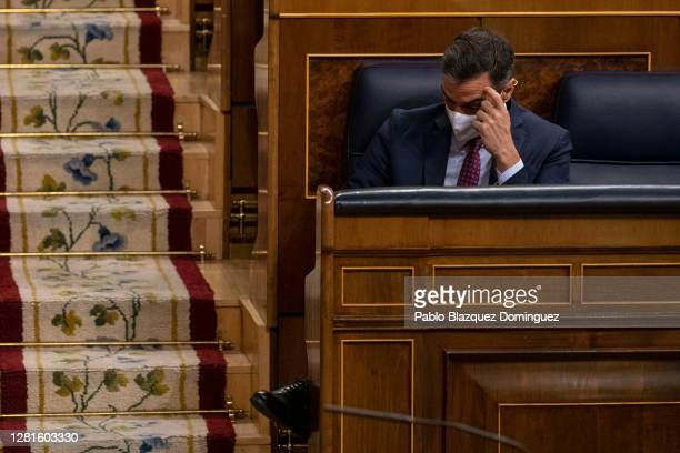 Spanish Prime Minister Pedro Sanchez gestures during a debate on a noconfidence motion at the Lower House of the Spanish Parliament on October 22...