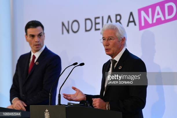 Spanish Prime Minister Pedro Sanchez gives a joint press conference with US actor and activist Richard Gere spokesman of Fundacion RAIS for homeless...