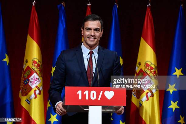 Spanish Prime Minister Pedro Sanchez gives a press conference to present the Socialist Party program ahead of general elections in Madrid on March 27...