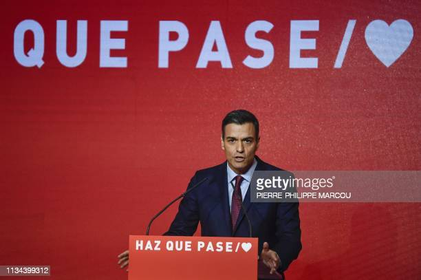 Spanish Prime Minister Pedro Sanchez gives a speech during the presentation of the Socialist Party electoral campaign in Madrid on April 2 2019