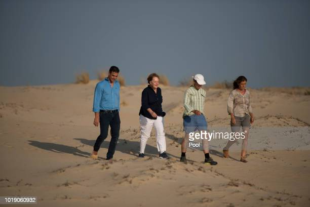 Spanish Prime Minister Pedro Sanchez his wife Maria Begona Gomez Fernandez German Chancellor Angela Merkel and her husband Joachim Sauer visit the...