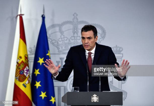 Spanish prime minister Pedro Sanchez holds a press conference at La Moncloa palace to talk on the Supreme Court's decision to revoke a final...
