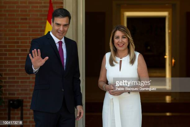Spanish Prime Minister Pedro Sanchez meets Andalusia's Regional President Susana Diaz at Moncloa Palace on July 23 2018 in Madrid Spain