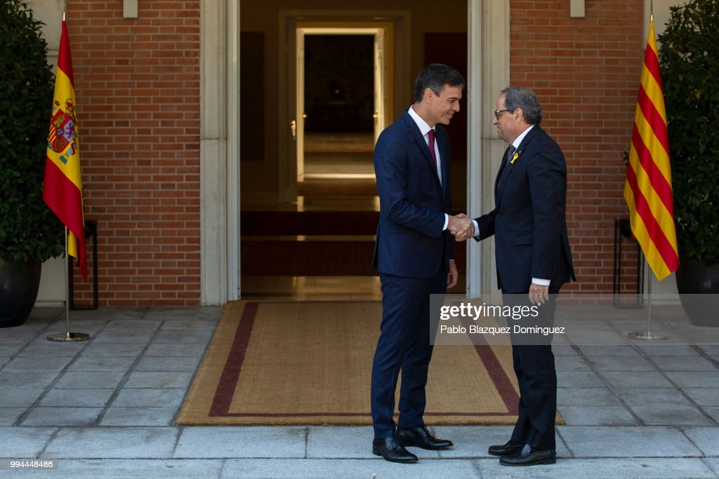 Spanish Prime Minister and Catalan President Meet At Moncloa Palace