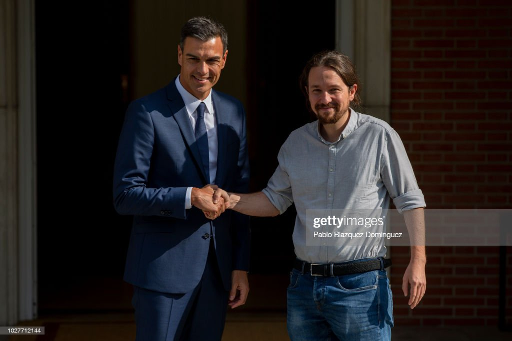 Spanish Prime Minister Pedro Sanchez Meets Pablo Iglesias At Moncloa Palace : News Photo