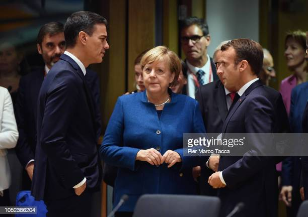 Spanish Prime Minister Pedro Sanchez PerezCastejon German Chancellor Angela Merkel and President of France Emmanuel Macron attend the Euro Summit on...