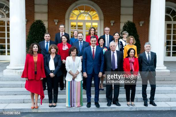 Spanish Prime Minister Pedro Sanchez poses with members of his government Spanish minister of science innovation and universities Pedro Duque Spanish...
