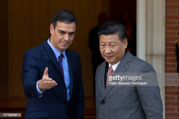 Spanish Prime Minister Pedro Sanchez receives Chinese President Xi Jinping at Moncloa Palace on November 28, 2018 in Madrid, Spain. Xi Jinping is on...