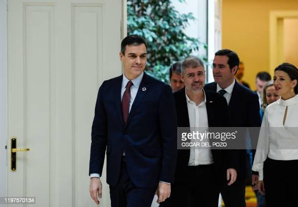 Spanish Prime Minister Pedro Sanchez Secretary General of Comisiones Obreras CCOO trade union Unai Sordo president of Confederacion Espanola de...