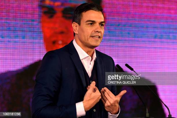 Spanish prime minister Pedro Sanchez speaks during a campaign meeting to support Spanish Socialist Party candidate for the Andalusian regional...