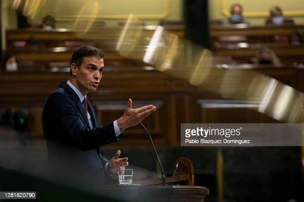 Spanish Prime Minister Pedro Sanchez speaks during a debate on a noconfidence motion at the Lower House of the Spanish Parliament on October 22 2020...