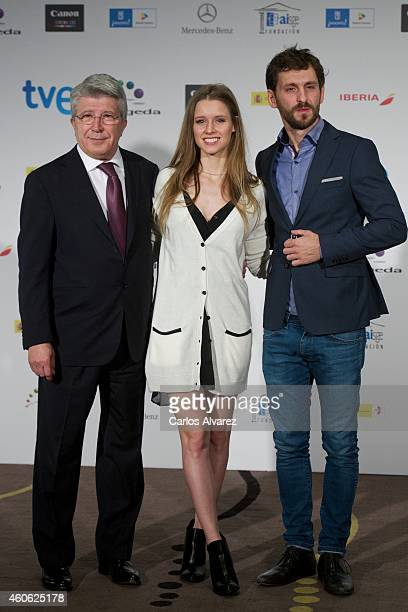 Spanish producer Enrique Cerezo Spanish actress Manuela Velles and Spanish actor Raul Arevalo announce the next Jose Maria Forque awards at the...