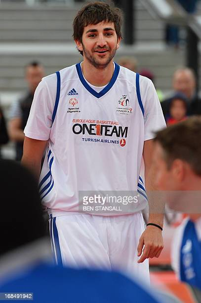 Spanish professional basketball player Ricky Rubio plays basketball during a goodwill game organised by Euroleagues sport and social development...