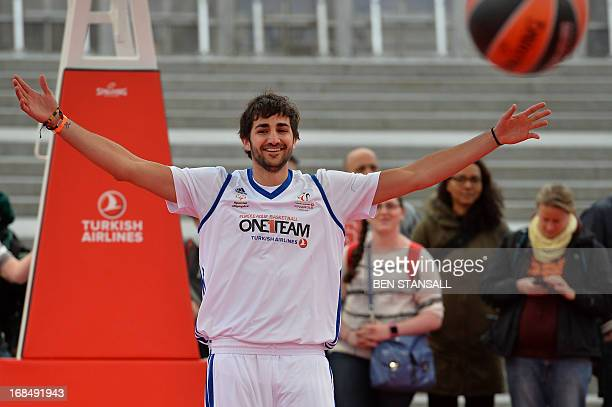 Spanish professional basketball player Ricky Rubio plays basketball during a goodwill game organised by Euroleague's sport and social development...