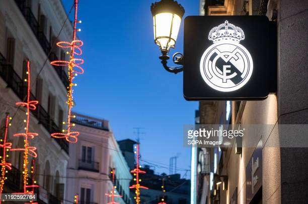 Spanish professional football club team Real Madrid Club de Fútbol commonly known as Real Madrid brand store and logo seen in Madrid