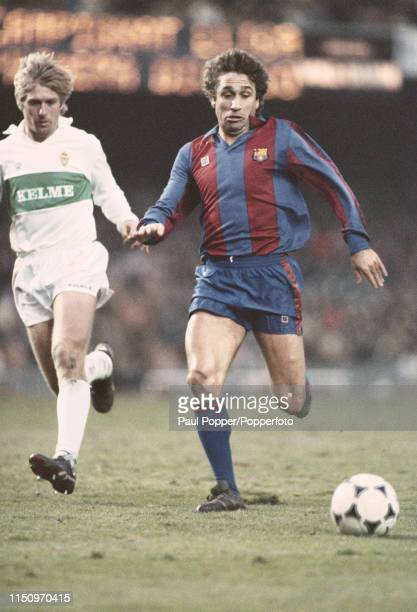 Spanish professional footballer Esteban Vigo midfielder with FC Barcelona pictured making a run with the ball during a La Liga match between...