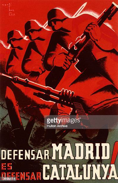 A Spanish propaganda poster from the Spanish Civil War with an illustration of armed soldiers and barbed wire and the words 'Defending Madrid is...