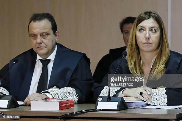 Spanish prosecutors Pedro Horrach and Ana Lamas look on during the hearing of Spain's Princess Cristina her husband former Olympic handball player...
