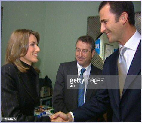 Spanish public television TVE journalist Letizia Ortiz Rocasolano shakes hands with Spanish Prince Felipe de Bourbon the Prince of Asturias and TVE...