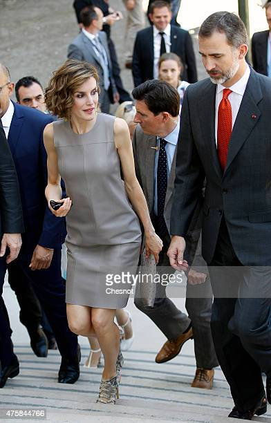 Spanish Queen Letizia and spanish King Felipe VI arrive at the Grand Palais for a visit of the exhibition named 'Lumiere ' on June 4 2015 in Paris...