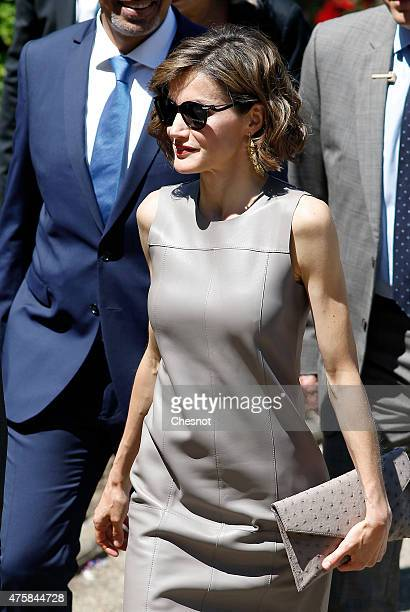 Spanish Queen Letizia arrives at the Grand Palais for a visit of the exhibition named 'Lumiere ' on June 4 2015 in Paris France Felipe VI of Spain...