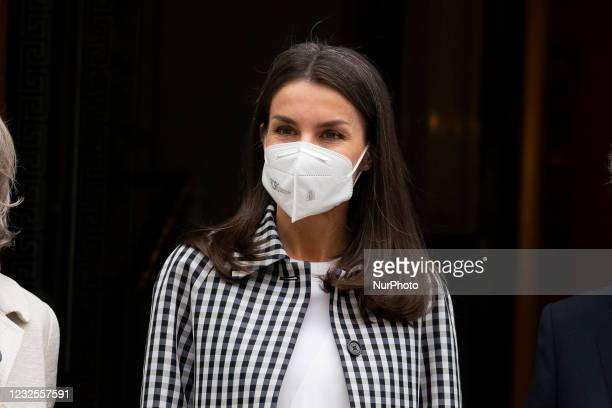 Spanish Queen Letizia at her arrival to the headquarters of the Royal Academy of Spanih Language in Madrid, Spain on 27 April 2021 to attend to a...