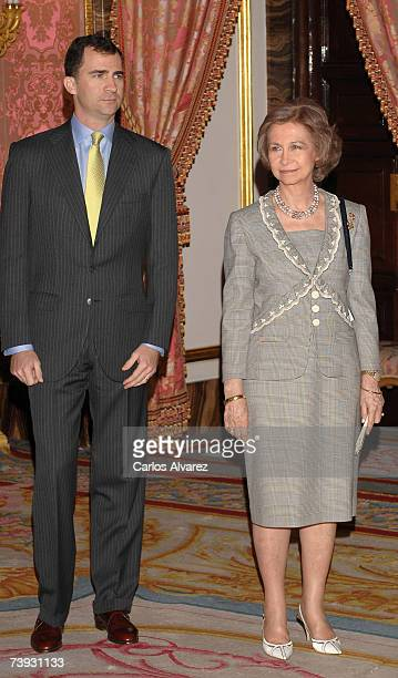 Spanish Queen Sofia and Crown Prince Felipe receive a representation of Spanish writers on April 20, 2007 at the Royal Palace, ahead Cervantes...
