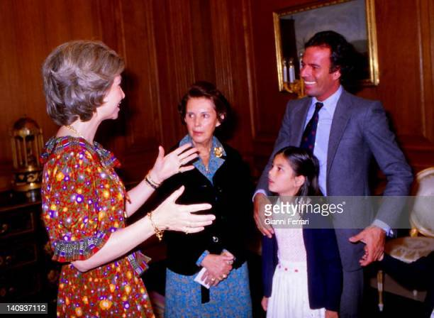 Spanish Queen Sofia receive the singer Julio Iglesias and family at the Zarzuela Palace Madrid Spain
