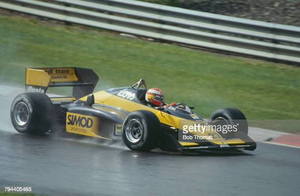 Spanish racing driver Adrian Campos drives the Minardi Team Minardi M187 MM V6t in the 1987 Belgian Grand Prix at Circuit de SpaFrancorchamps in Spa...