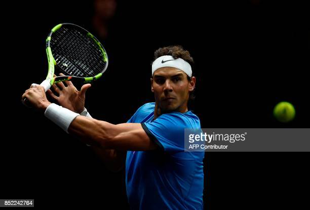 Spanish Rafael Nadal of Team Europe returns a ball to US Jack Sock of Team World during second day of Laver Cup on September 23 2017 in O2 Arena in...