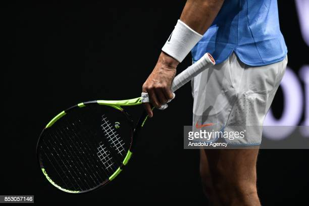 Spanish Rafael Nadal of the Team Europe in action against US John Isner of the Team World during the Laver Cup in Prague Czech Republic on September...