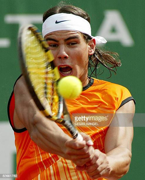 Spanish Rafael Nadal returns the ball to Guilles Muller of Luxembourg during the ATP tennis tournament at the Real Club Tenis Barcelona, 20 April...