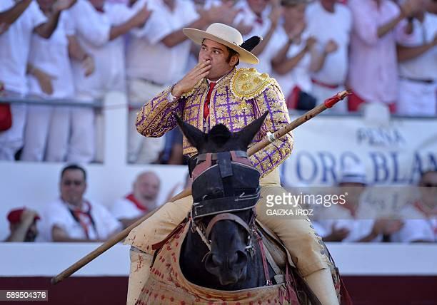 Spanish Rafaelillo's picador Juan Jose Esquivel gestures at Dax arena during the feria in Dax southwestern France on August 14 2016 / AFP / GAIZKA...