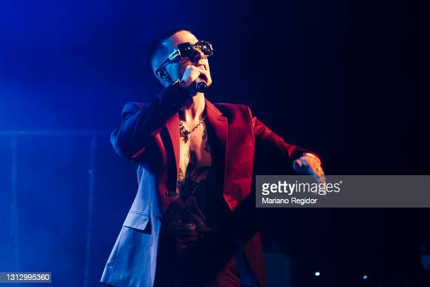 Spanish rapper and actor Elio Toffana performs on stage during Live Nation's Carrete Festival at La Riviera on April 17, 2021 in Madrid, Spain.