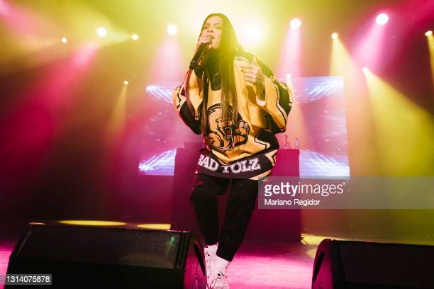 Spanish rapper Ptazeta performs on stage during Live Nation's Carrete Festival at La Riviera on April 23, 2021 in Madrid, Spain.