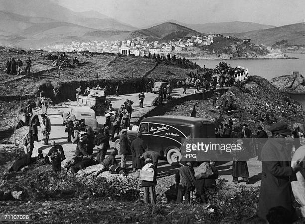Spanish refugees pour into BanyulssurMer in the French Pyrenees during the Spanish Civil War 1939