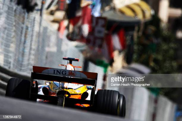 Spanish Renault Formula One driver Fernando Alonso driving his Renault R28 racing car during practice for the 2008 Monaco Grand Prix, Monte Carlo, on...