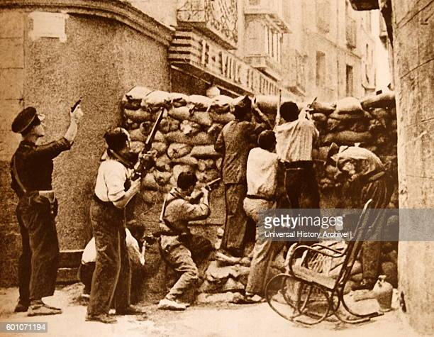 Spanish Republican barricade during the Siege of the Alcazar in Toledo in the opening stages of the Spanish Civil War The Alcazar of Toledo was held...