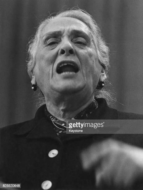 Spanish Republican heroine and honorary president of the Spanish Communist Party Dolores Ibarruri aka La Pasionaria speaking at the 10th Congress of...