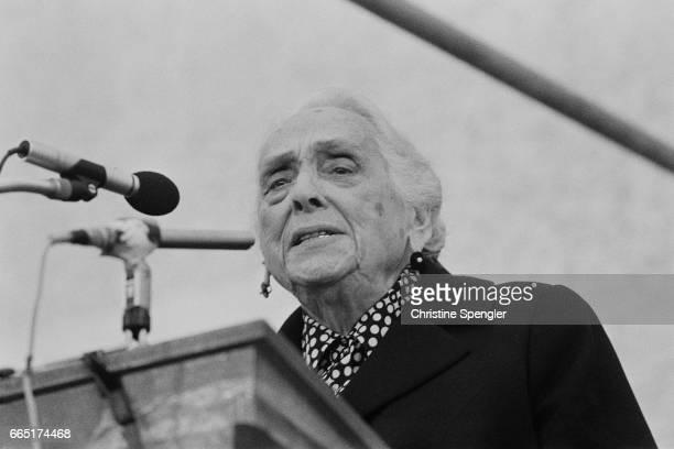 Spanish Republican leader of the Spanish Civil War and Communist politician of Basque origin Dolores Ibarruri known as La Pasionaria attends a...