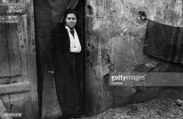 Spanish Republican refugee at Le Perthus on the Spanish French border, during the Retirada, 1st February 1939 . .